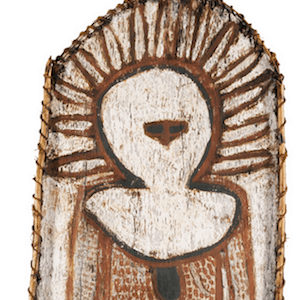 JACK KAREDADA bark painting of a wandjina