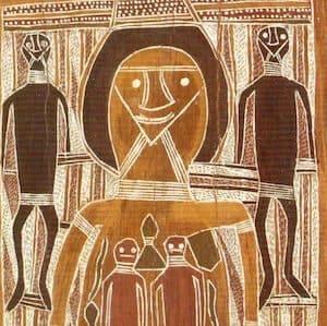 Mawalan Marika Yirrkala bark Paintings