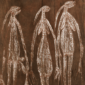 Diidja-bark painting of namarnde-with-wives
