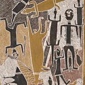 aboriginal painting by MUNGGURRAWUY-YUNUPINGU