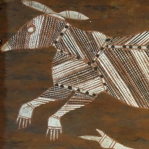 aboriginal painting of a bandicoot