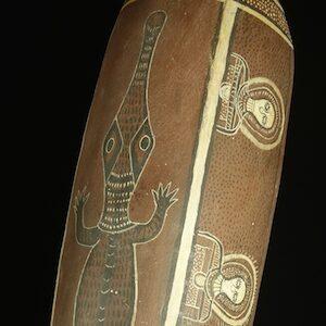 Coolamon with wandjina by Alan Mungulu copy